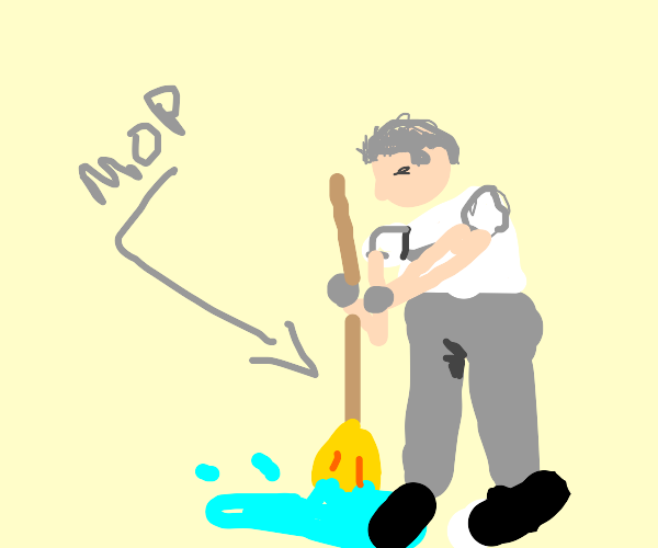 A janitor mopping