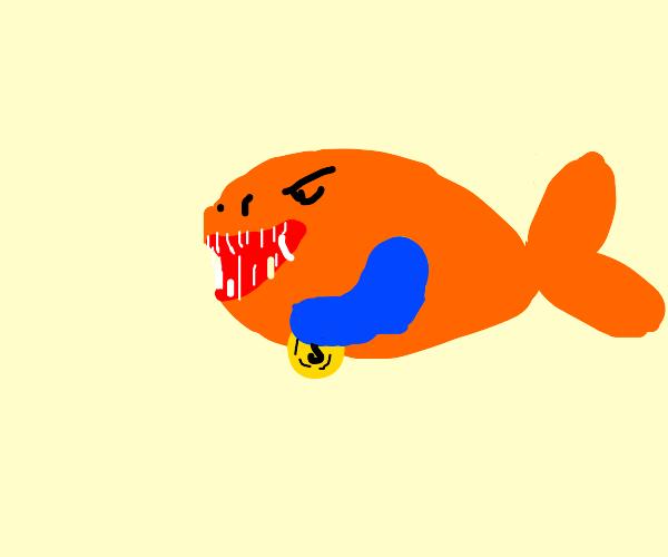 Piranha carrying a Coin