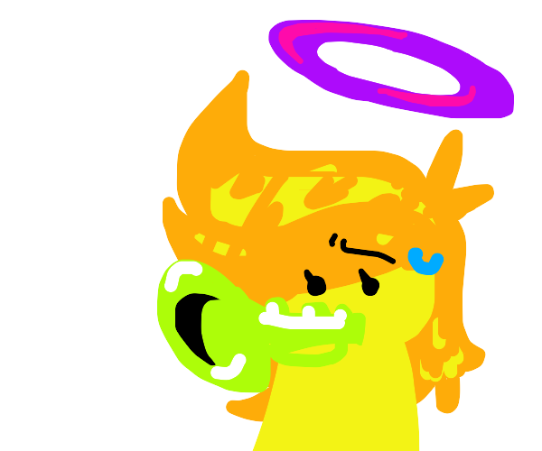 Angelic woman cursed with a trumpet beak