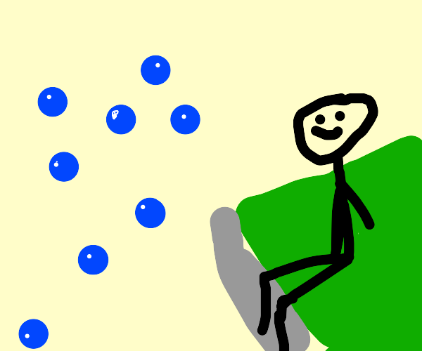 a person watching bubbles