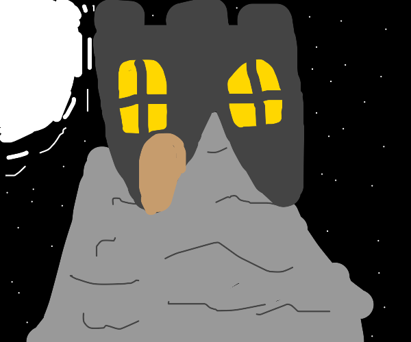 Castle at night on tall rock
