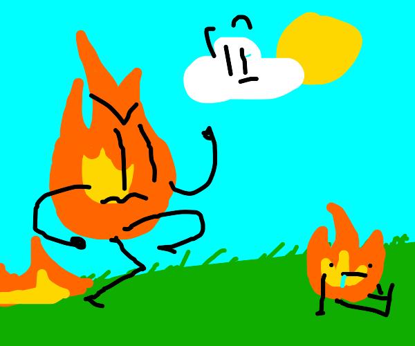 Dad runs to his firey son