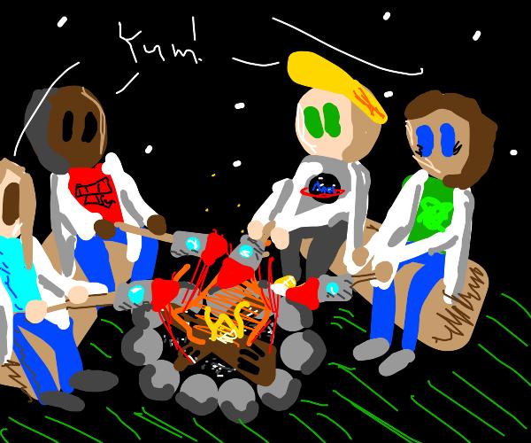 Scientists roast delicious rocket over campfi