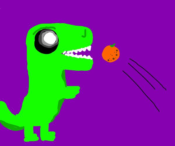 dinosaur eats orange