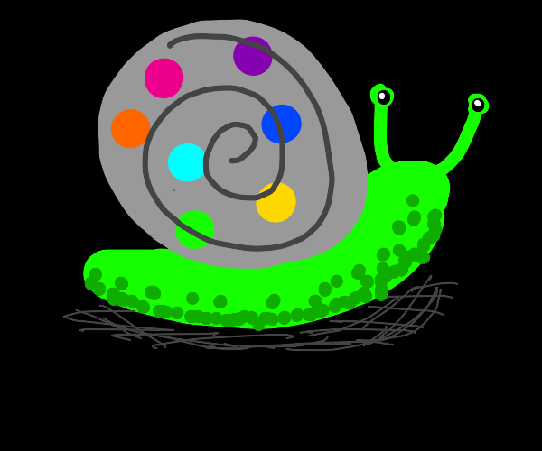 a green snail with a gray she'll with polka d