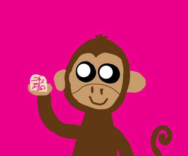 Monkey holding a brain