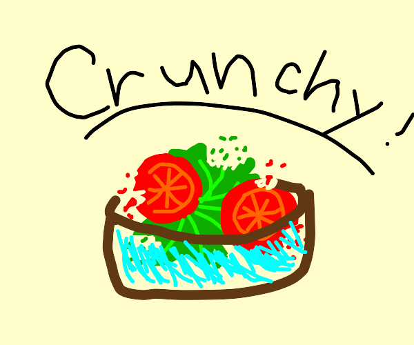 """""""crunchy"""" lettuce and tomatoes in a salad"""