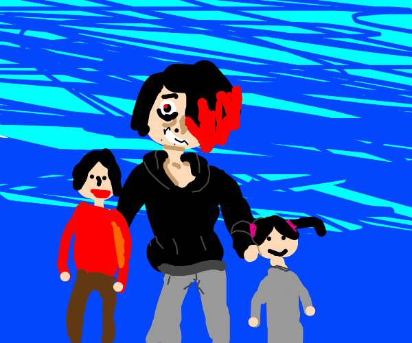 emo dude with two kids