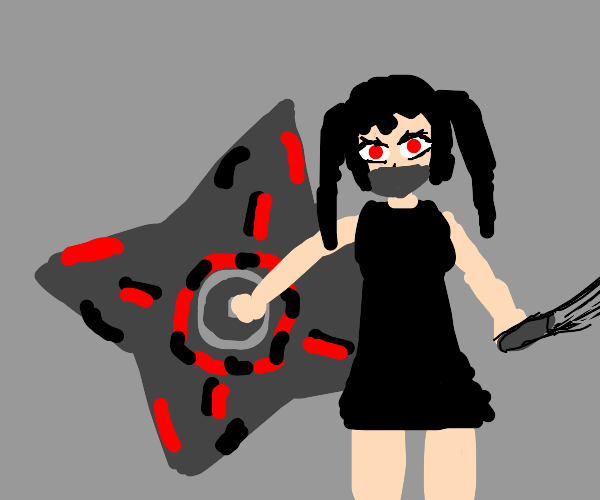Anime girl with twintails holding a shuriken