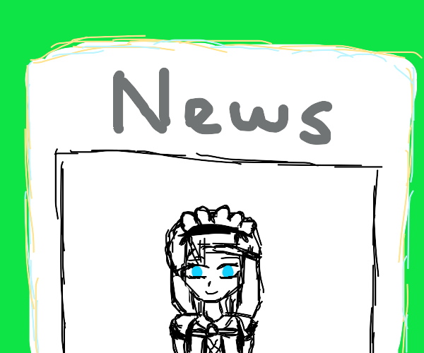 Anime Maid Girl with Blue Eyes in a paper
