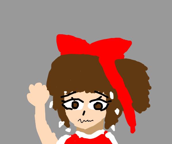 Nervous Reimu (Touhou) with one arm up