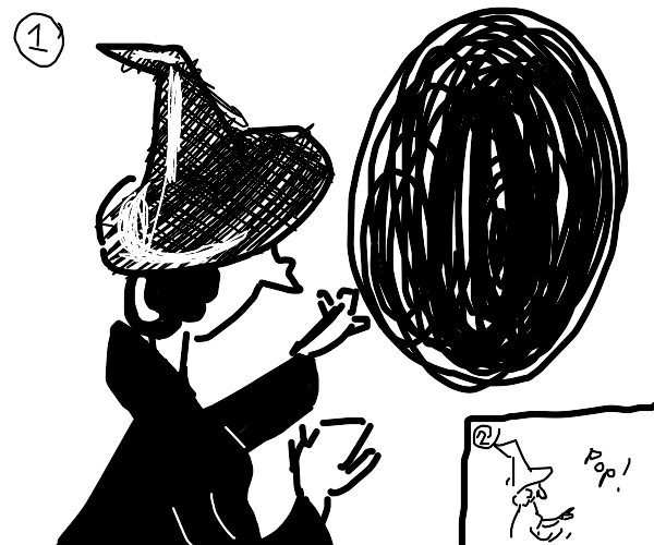 Witch uses magic to close black hole.