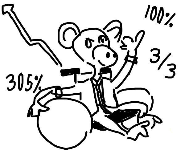 business monkey in wheelchair