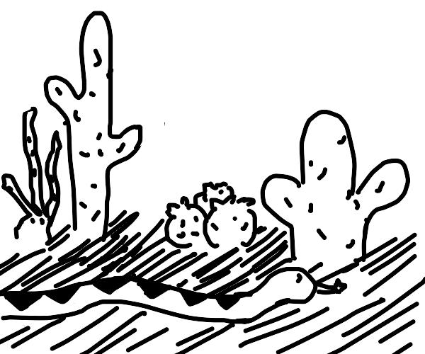 Snake in a cactus garden
