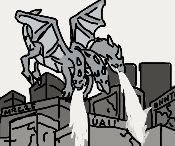 three headed dragon destroying a city