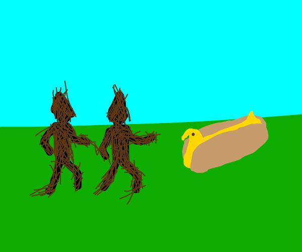 stick people walking up to a hotdog peep