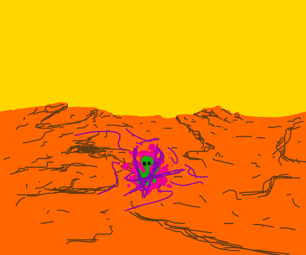 Long neck martian with a powerful purple aura