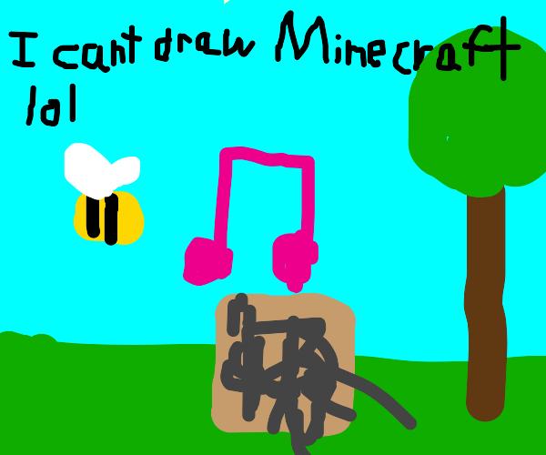 minecarft bee vibing to jukebox