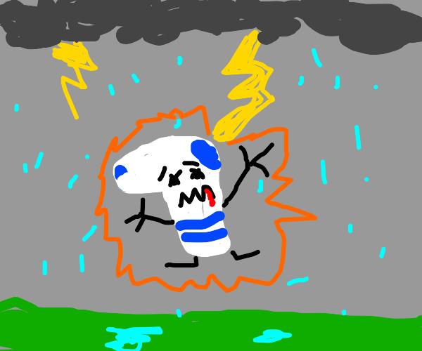 Being struck by lightning really socks