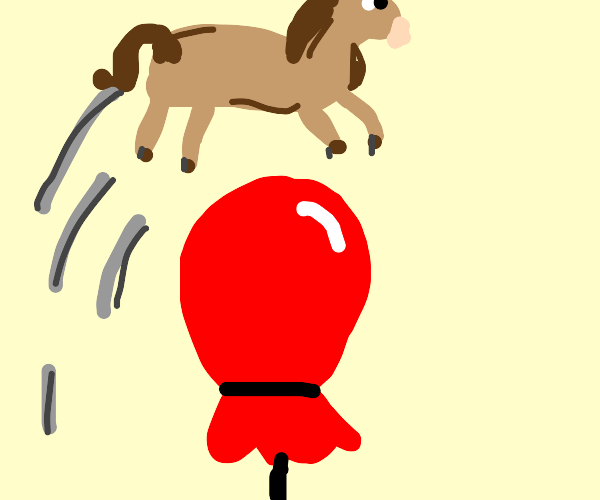 Pony jumping over a Balloon
