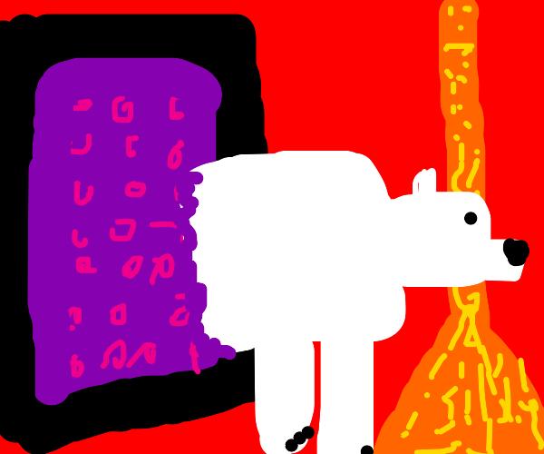 Polar bear enters Nether Portal
