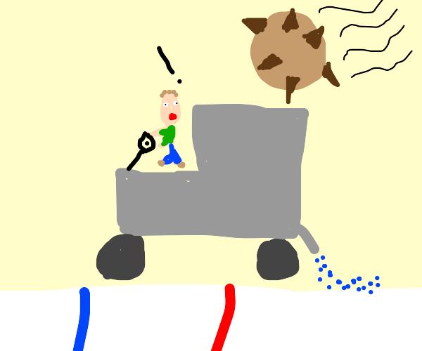Zomboni hit by spikerock