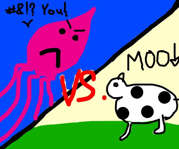 Profane Squid fights Menacing Cow
