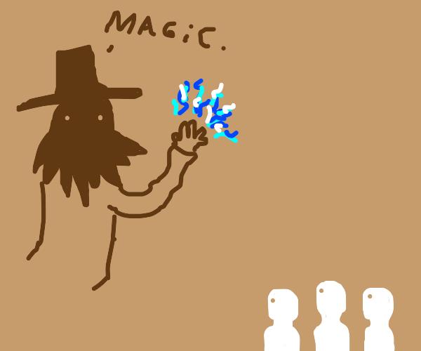 Powerful Demigod using magic as men watch.