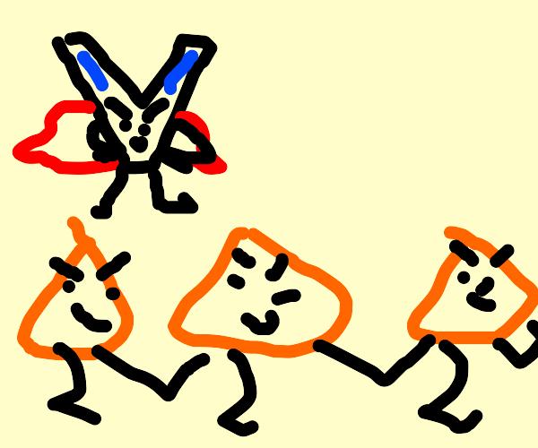 Super V and his minion doritos