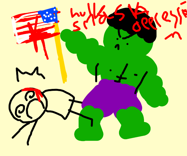 Hulk smacks person with an american flag