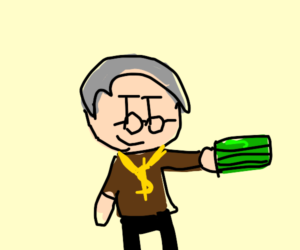 rich old man with a wad of cash