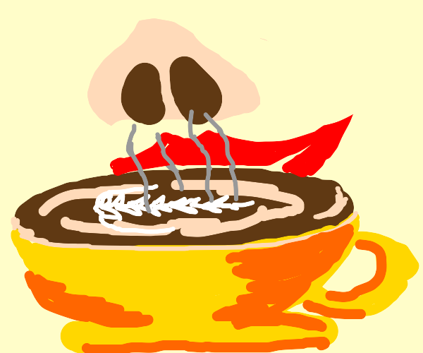 Hot cofee, [smells it]