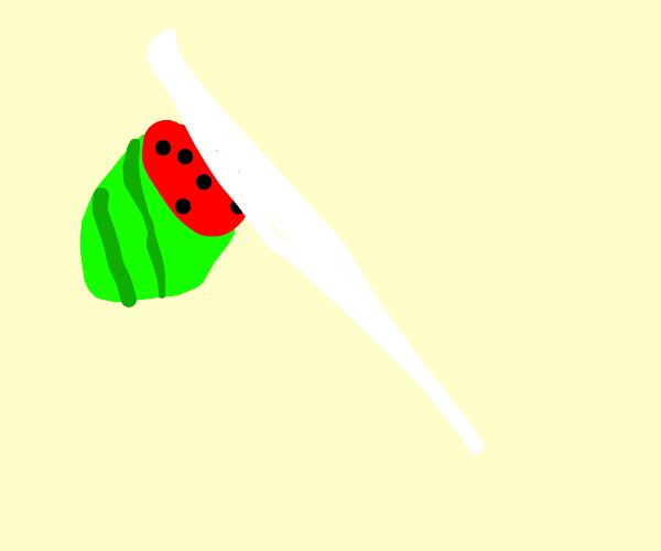 Fruit Ninja chopping watermelon