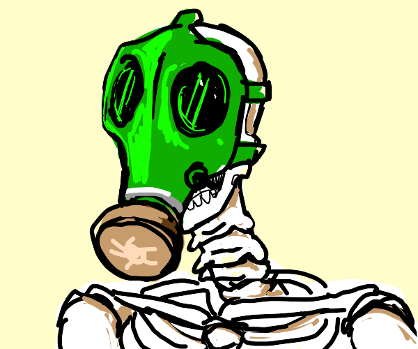 skeleton wearing gas mask