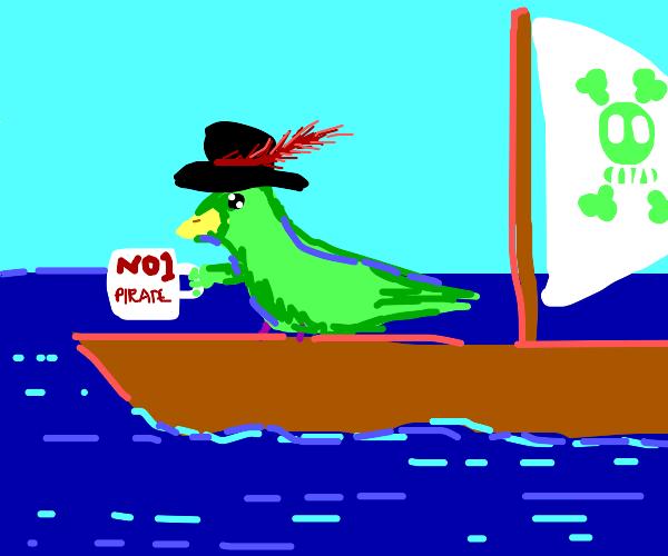 Greenfinch steals pirates mug