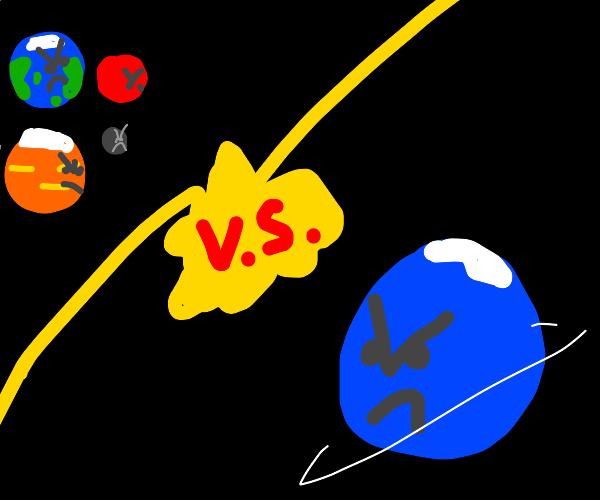 Earth, Mars, Venus and Mercury vs Neptune.
