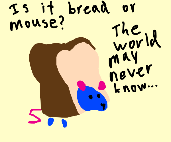 Blue mouse wearing bread costume