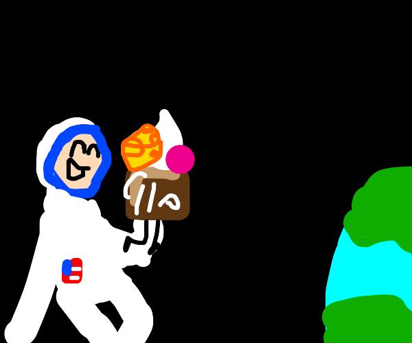 Astronaut eating cheesecake (mmm...)