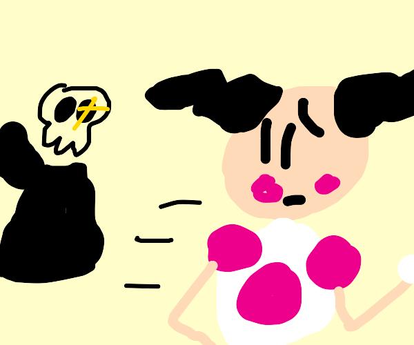 Mime runs away from cloak-less Grim Reaper