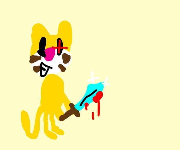 Cat with diamond sword smiling