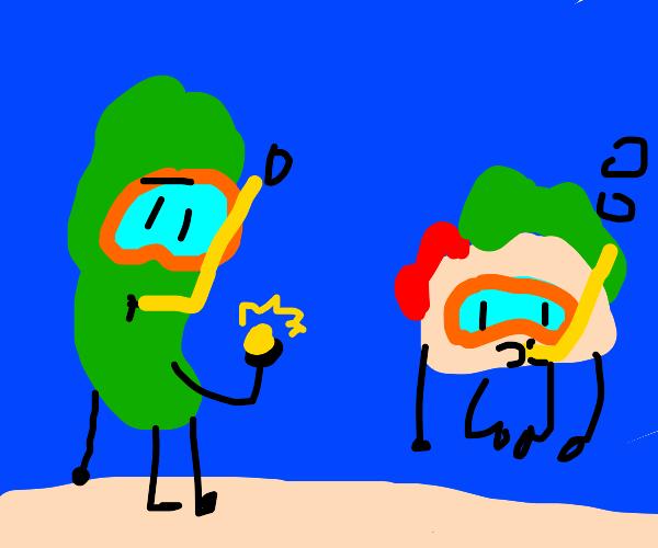 scuba diving vegetables