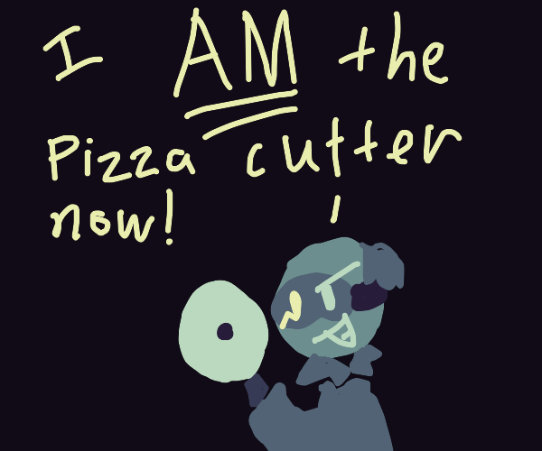 Mad scientist with a pizza cutter as a hand