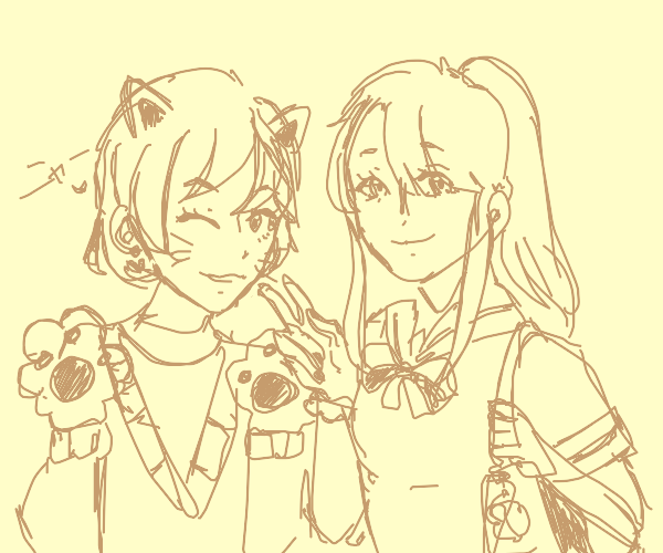 Anime cat girl+school girl