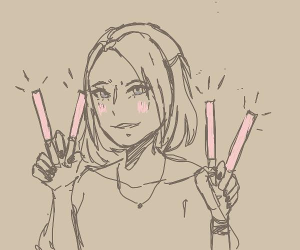 girl holding four liquid lipsticks