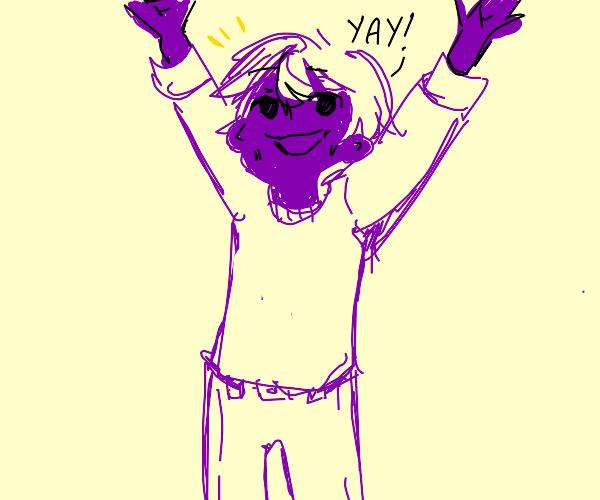 Purple man has a good time