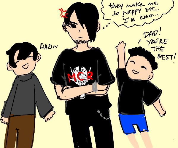 Emo dad mad because his kids make him happy