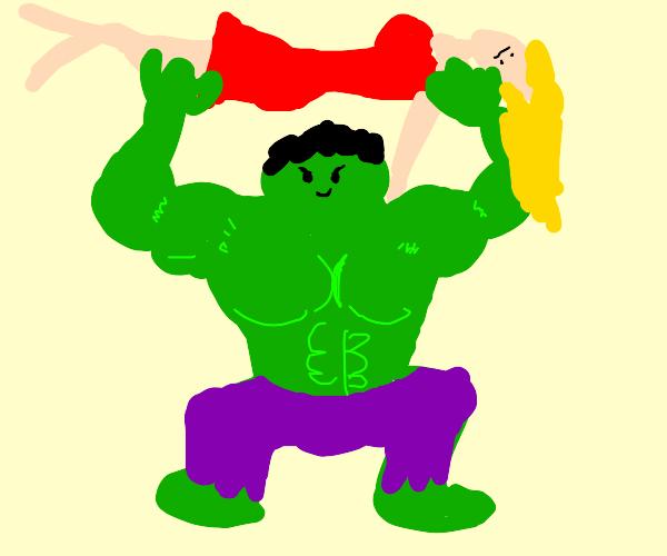 Hulk suplexes hot lady