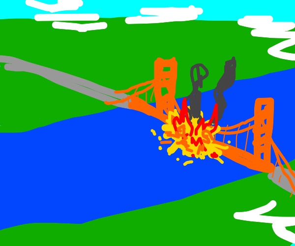 Explosion on the golden gate bridge