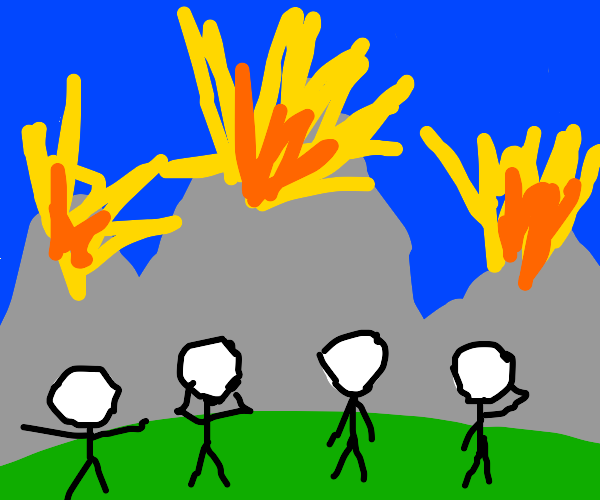 people watch mountains explode