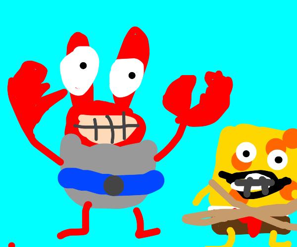 Mr Krabs holds Spongebob hostage
